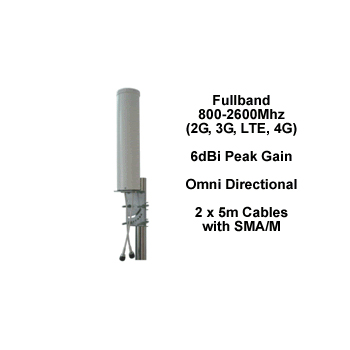 Fullband MIMORAD Outdoor 4G MIMO Antenna 6dBi Peak Gain with 2 x 5m cables  with SMA Male Connectors
